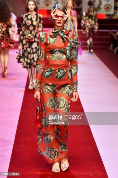 Model walks the runway at the Dolce & Gabbana Spring Summer 2018 fashion show during Milan Fashion Week on September 24, 2017 in Milan, Italy.