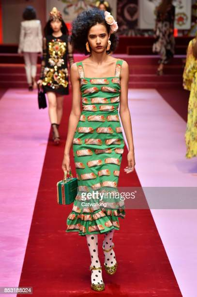 A model walks the runway at the Dolce Gabbana Spring Summer 2018 fashion show during Milan Fashion Week on September 24 2017 in Milan Italy