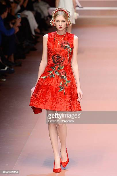 A model walks the runway at the DolceGabbana show during the Milan Fashion Week Autumn/Winter 2015 on March 1 2015 in Milan Italy