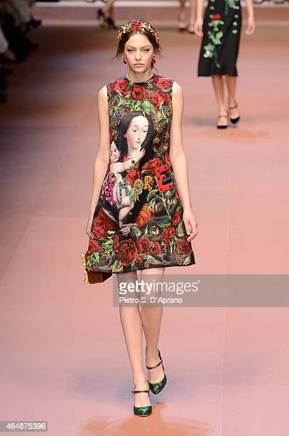 Model walks the runway at the Dolce&Gabbana show during the Milan Fashion Week Autumn/Winter 2015 on March 1, 2015 in Milan, Italy.