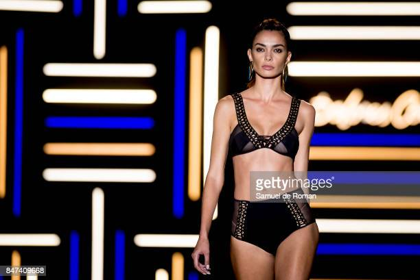 A model walks the runway at the Dolores Cortes show during the MercedesBenz Fashion Week Madrid Spring/Summer 2018 at Ifema on September 15 2017 in...