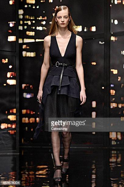 A model walks the runway at the Donna Karan Autumn Winter 2015 fashion show during New York Fashion Week on February 16 2015 in New York United States