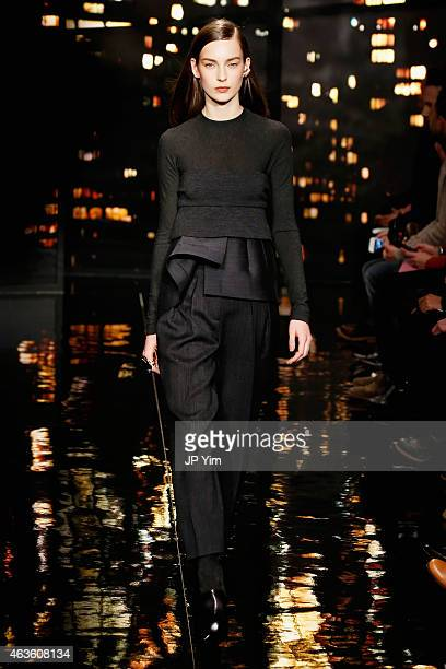 A model walks the runway at the Donna Karan New York fashion show during MercedesBenz Fashion Week Fall 2015 on February 16 2015 in New York City
