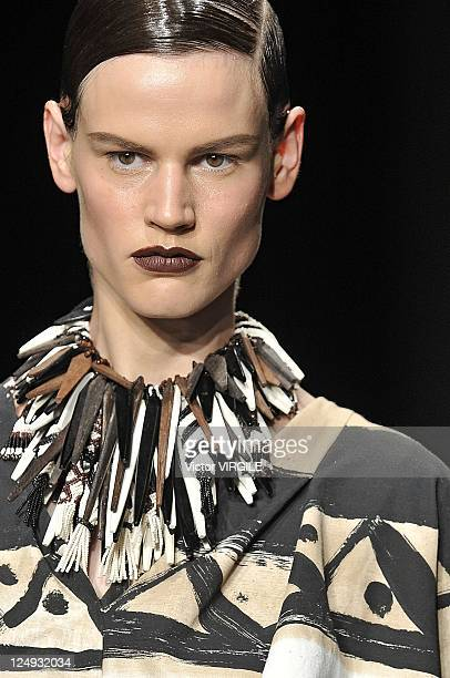 A model walks the runway at the Donna Karan New York Spring 2012 fashion show during MercedesBenz Fashion Week at 547 West 26th Street on September...