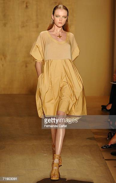 A model walks the runway at the Donna Karan Spring 2007 Fashion show during Olympus Fashion Week September 15 2006 in New York City