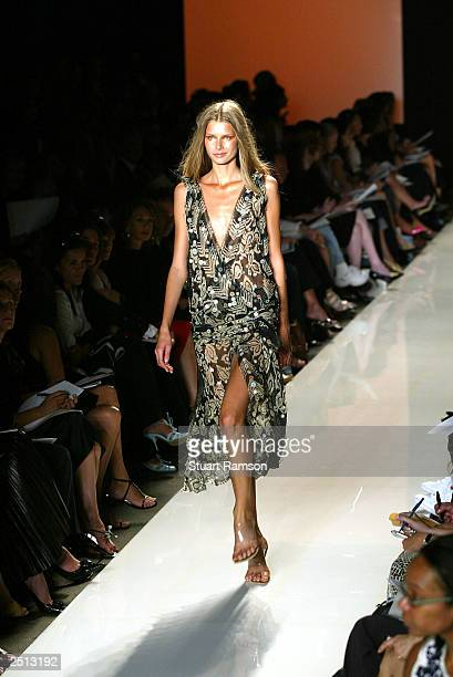 A model walks the runway at the Donna Karan Spring/Summer 2004 fashion show at Bryant Park during the 7th on Sixth MercedesBenz New York Fashion Week...