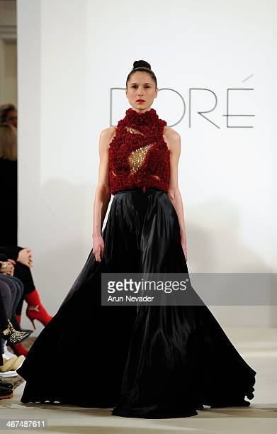 A model walks the runway at the Dore fashion show during MercedesBenz Fashion Week Fall 2014 at Empire Hotel on February 6 2014 in New York City