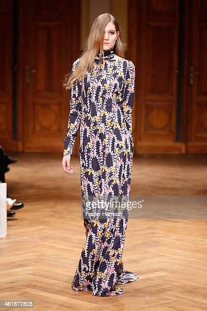 A model walks the runway at the Dorothee Schumacher show during the MercedesBenz Fashion Week Berlin Autumn/Winter 2015/16 at Villa Elisabeth on...