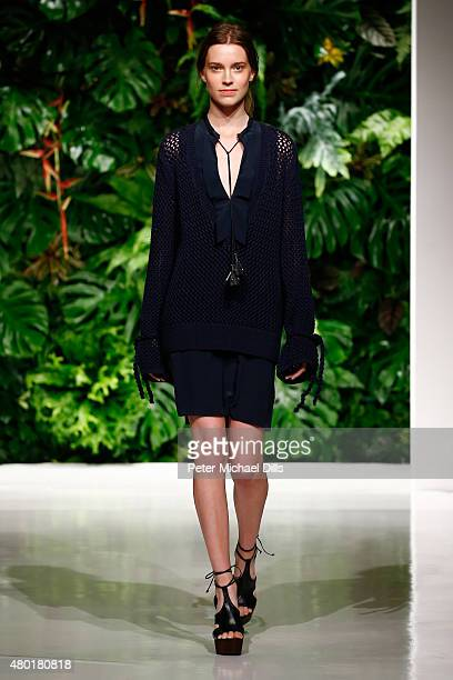 A model walks the runway at the Dorothee Schumacher show during the MercedesBenz Fashion Week Berlin Spring/Summer 2016 at Stage at me Collectors...