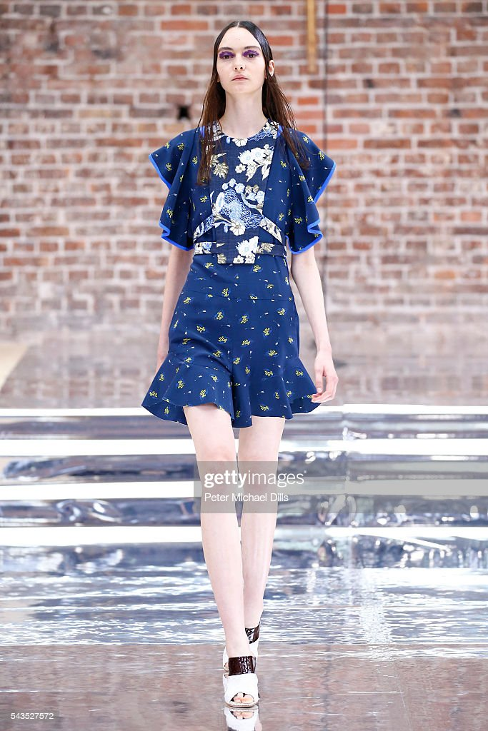 A model walks the runway at the Dorothee Schumacher show during the Mercedes-Benz Fashion Week Berlin Spring/Summer 2017 at Elisabethkirche on June 29, 2016 in Berlin, Germany.