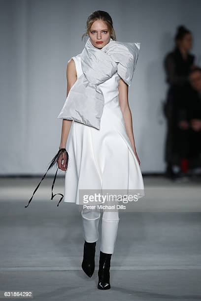 A model walks the runway at the Dorothee Schumacher show during the MercedesBenz Fashion Week Berlin A/W 2017 at Kaufhaus Jandorf on January 17 2017...