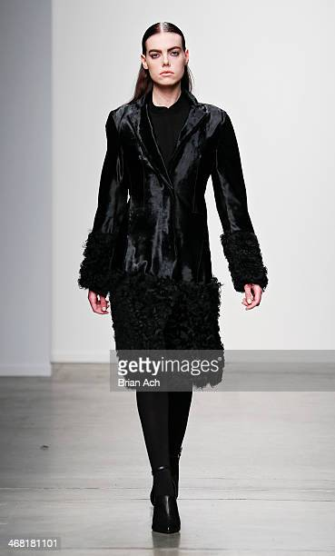 A model walks the runway at the Dree Collection fashion show during MercedesBenz Fashion Week Fall 2014 at Pier 59 on February 9 2014 in New York City