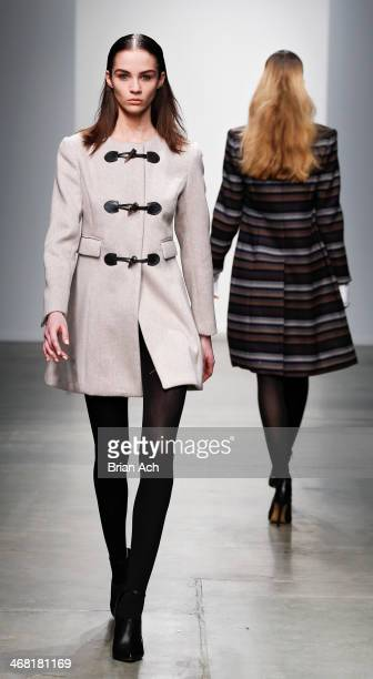 Model walks the runway at the Dree Collection fashion show during Mercedes-Benz Fashion Week Fall 2014 at Pier 59 on February 9, 2014 in New York...