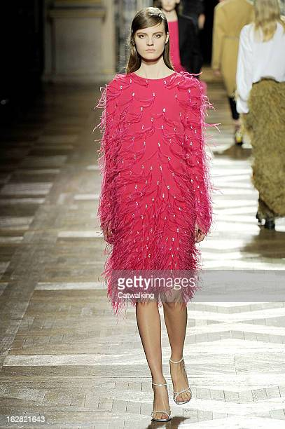 A model walks the runway at the Dries van Noten Autumn Winter 2013 fashion show during Paris Fashion Week on February 27 2013 in Paris France