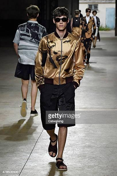 A model walks the runway at the Dries Van Noten Spring Summer 2016 fashion show during Paris Menswear Fashion Week on June 25 2015 in Paris France