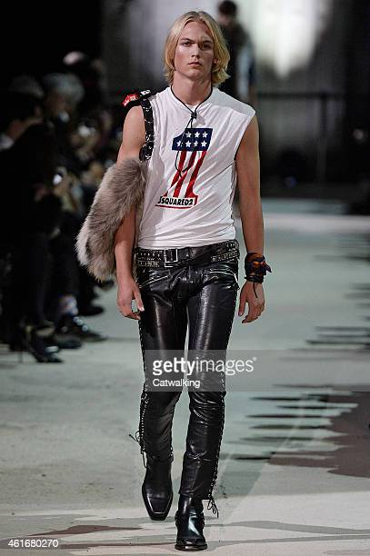 Model walks the runway at the DSquared2 Autumn Winter 2015 fashion show during Milan Menswear Fashion Week on January 16, 2015 in Milan, Italy.