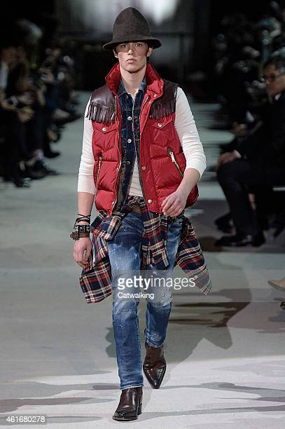 A model walks the runway at the DSquared2 Autumn Winter 2015 fashion show during Milan Menswear Fashion Week on January 16 2015 in Milan Italy