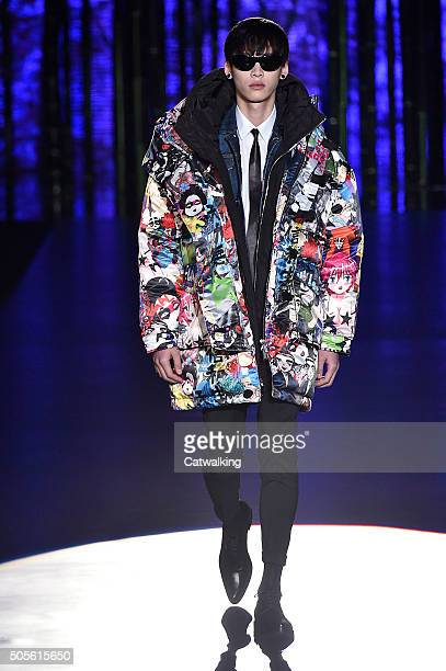 Model walks the runway at the DSquared2 Autumn Winter 2016 fashion show during Milan Menswear Fashion Week on January 19, 2016 in Milan, Italy.