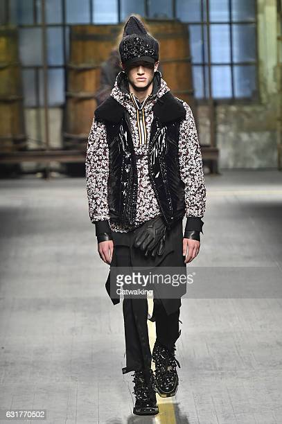 Model walks the runway at the DSquared2 Autumn Winter 2017 fashion show during Milan Menswear Fashion Week on January 15, 2017 in Milan, Italy.