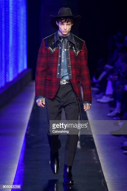 A model walks the runway at the DSquared2 Autumn Winter 2018 fashion show during Milan Menswear Fashion Week on January 14 2018 in Milan Italy