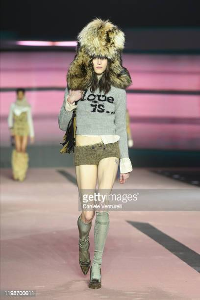 Model walks the runway at the Dsquared2 fashion show on January 10, 2020 in Milan, Italy.