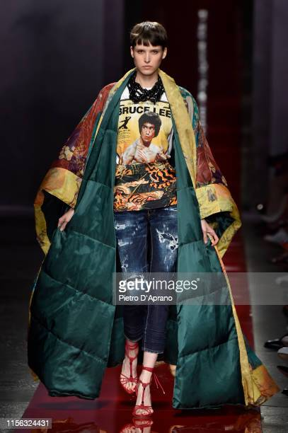 Model walks the runway at the DSquared2 Ford fashion show during the Milan Men's Fashion Week Spring/Summer 2020 on June 16, 2019 in Milan, Italy.