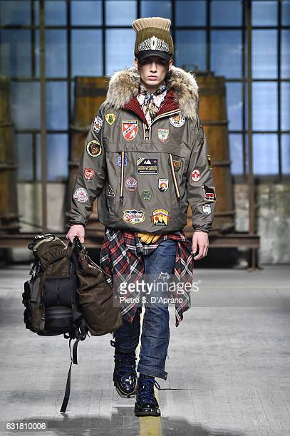 A model walks the runway at the Dsquared2 show during Milan Men's Fashion Week Fall/Winter 2017/18 on January 15 2017 in Milan Italy