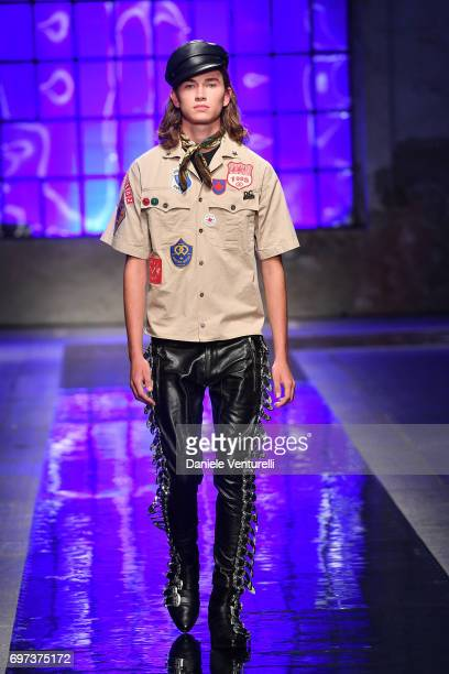 Model walks the runway at the Dsquared2 show during Milan Men's Fashion Week Spring/Summer 2018 on June 18, 2017 in Milan, Italy.