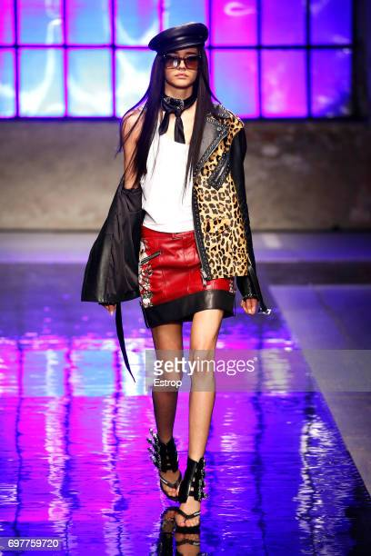 A model walks the runway at the Dsquared2 show during Milan Men's Fashion Week Spring/Summer 2018 on June 18 2017 in Milan Italy