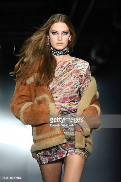 Model walks the runway at the Dsquared2 show during Milan Menswear Fashion Week Autumn/Winter 2019/20 on January 13 2019 in Milan Italy
