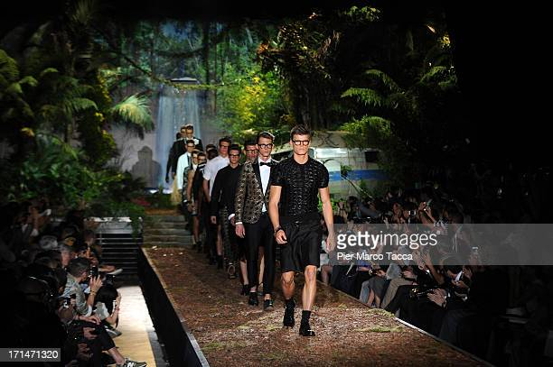 Model walks the runway at the DSquared2 show during Milan Menswear Fashion Week Spring Summer 2014 on June 25, 2013 in Milan, Italy.