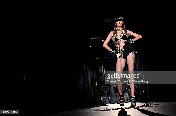 Model walks the runway at the DSquared2 Spring Summer 2013 fashion show during Milan Fashion Week on September 24, 2012 in Milan, Italy.