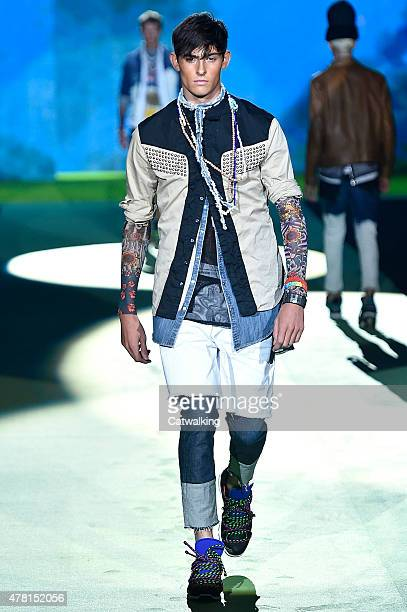 A model walks the runway at the DSquared2 Spring Summer 2016 fashion show during Milan Menswear Fashion Week on June 23 2015 in Milan Italy