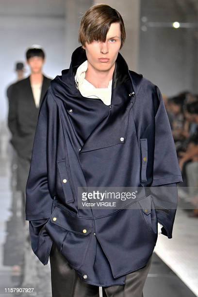 Model walks the runway at the Dunhill fashion show during Paris Men's Fashion Week Spring/Summer 2020 on June 23, 2019 in Paris, France.
