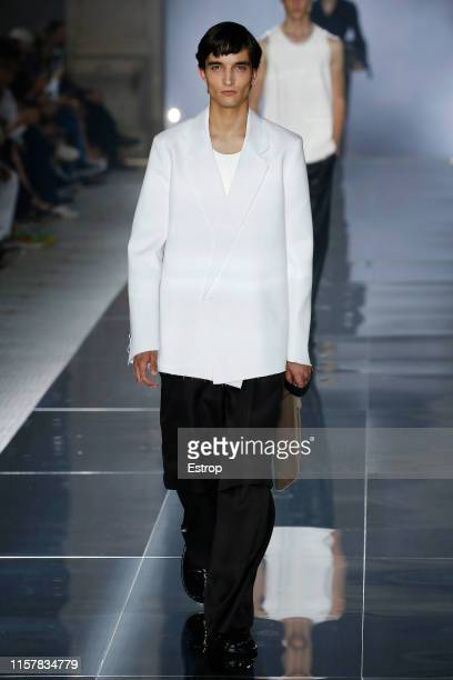 Model walks the runway at the Dunhill show during Paris Men's Fashion Week Spring/Summer 2020 on June 23, 2019 in Paris, France.