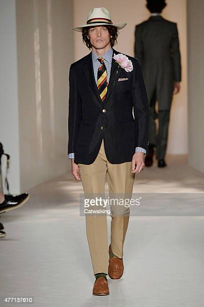 Model walks the runway at the Dunhill Spring Summer 2016 fashion show during London Menswear Fashion Week on June 14, 2015 in London, United Kingdom.