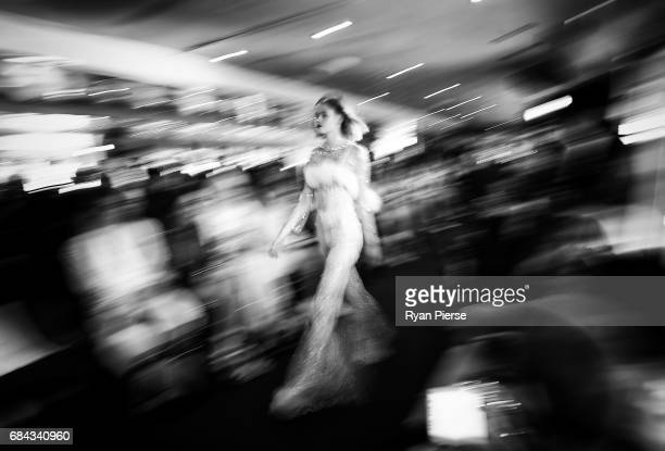 A model walks the runway at the Dyspnea show at MercedesBenz Fashion Week Resort 18 Collections at on Sydney Harbour on May 18 2017 in Sydney...