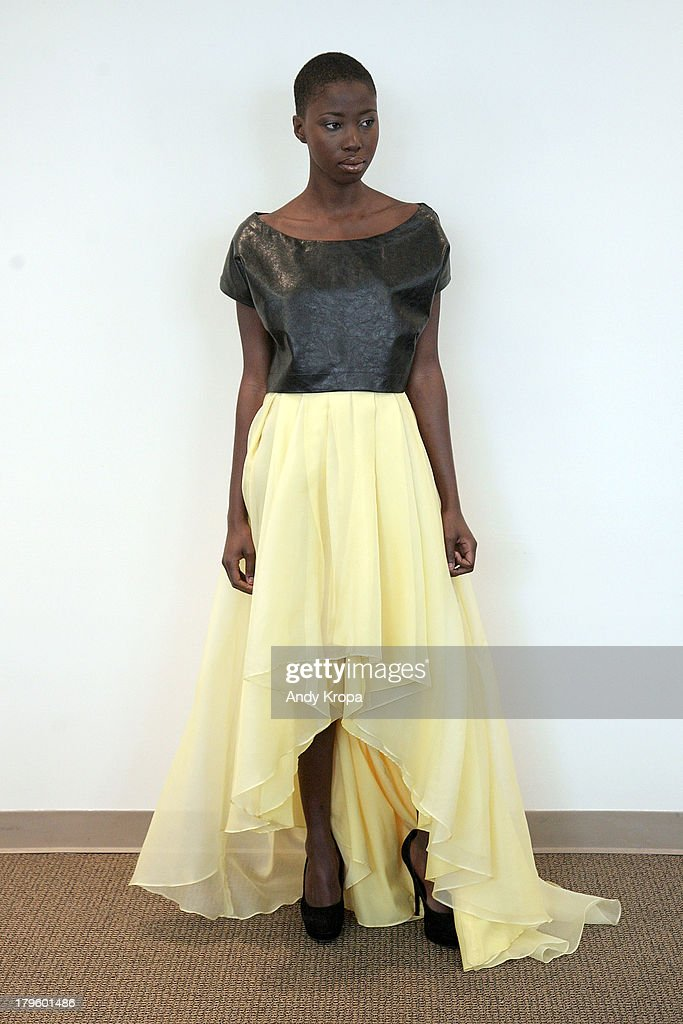 A model walks the runway at the Ebony White presentation during Mercedes-Benz Fashion Week on September 5, 2013 in New York City.