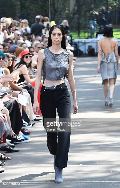 A model walks the runway at the Eckhaus Latta fashion show during New York Fashion Week September 2016 at Seward Park on September 10 2016 in New...