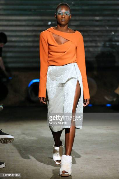 A model walks the runway at the Eckhaus Latta Ready to Wear Fall/Winter 20192020 fashion show during New York Fashion Week on February 9 2019 in New...