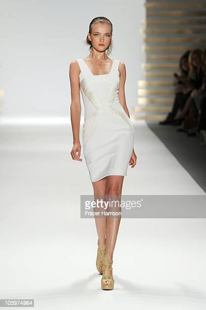 A model walks the runway at the Edition by Georges Chakra Spring 2011 fashion show during MercedesBenz Fashion Week at The Stage at Lincoln Center on...