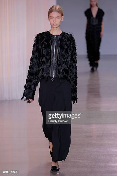 A model walks the runway at the Edun Runway Spring 2016 New York Fashion Week at Spring Studios on September 13 2015 in New York City