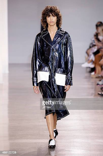A model walks the runway at the Edun Spring 2016 fashion show during New York Fashion Week at Spring Studios on September 13 2015 in New York City