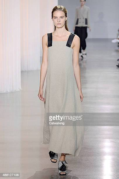 A model walks the runway at the Edun Spring Summer 2016 fashion show during New York Fashion Week on September 13 2015 in New York United States
