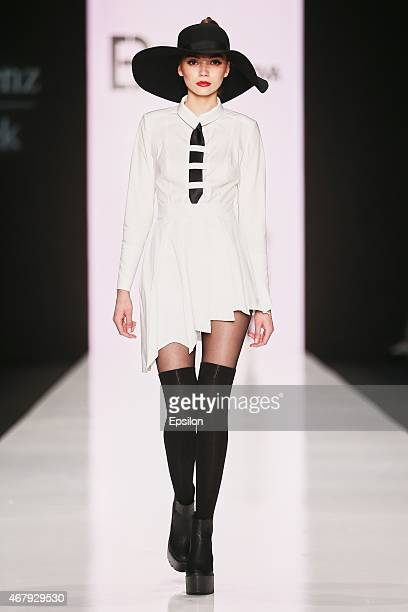 A model walks the runway at the Elena Bryntsalova show during the MercedesBenz Fashion Week Russia Autumn/Winter 2015/16 at Manege on March 28 2015...