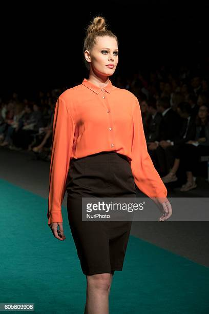 A model walks the runway at the Elena Miro fashion show during the MFSHOW Women on September 14 2016 in Madrid Spain