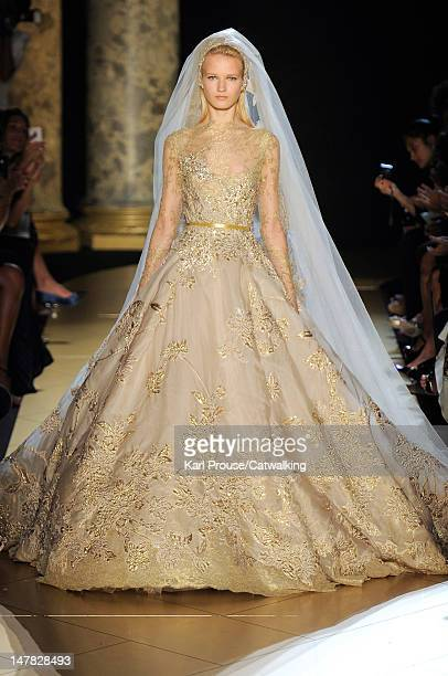 A model walks the runway at the Elie Saab Autumn Winter 2012 fashion show during Paris Haute Couture Fashion Week on July 4 2012 in Paris France