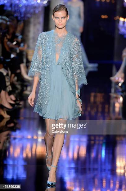 Model walks the runway at the Elie Saab Autumn Winter 2014 fashion show during Paris Haute Couture Fashion Week on July 9, 2014 in Paris, France.
