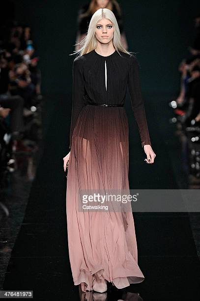 Model walks the runway at the Elie Saab Autumn Winter 2014 fashion show during Paris Fashion Week on March 3, 2014 in Paris, France.