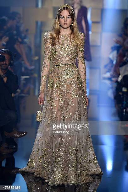 A model walks the runway at the Elie Saab Autumn Winter 2015 fashion show during Paris Haute Couture Fashion Week on July 8 2015 in Paris France